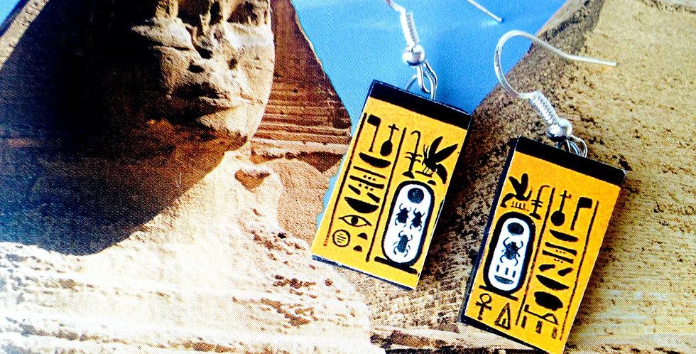 Boucles d'oreilles LA SPHYNGE, hiéroglyphes, Egypte Ancienne