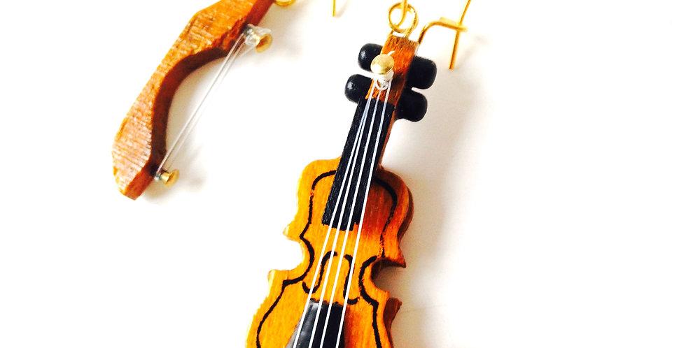 Boucles d'oreilles STRADIVARIUS, violon et archet miniature