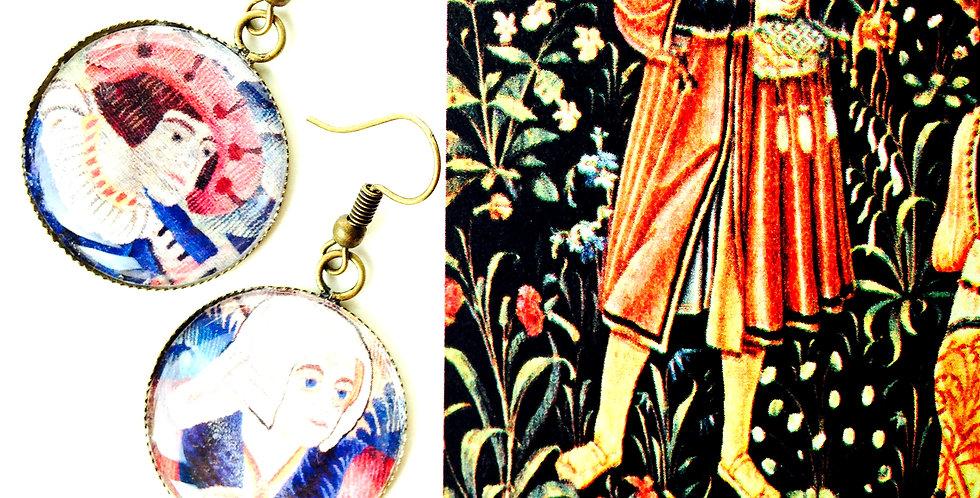 Boucles d'oreilles LES SEIGNEURS, d'après une tapisserie médiévale