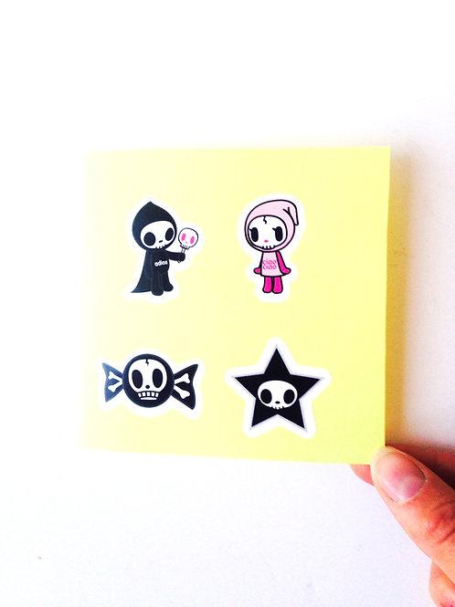 Carte double papier jaune stickers, pas d'enveloppe, pas de message