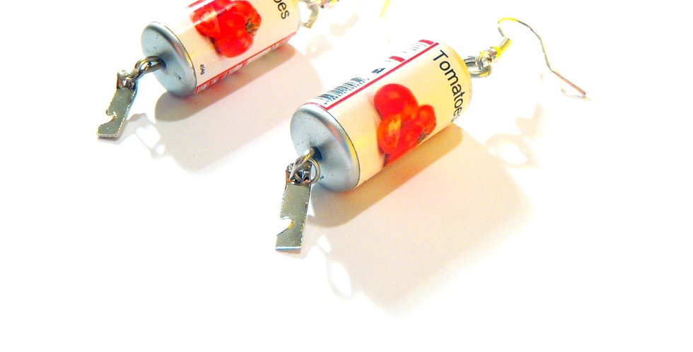 Boucles d'oreilles TOMATO STYLE, boîtes de conserve