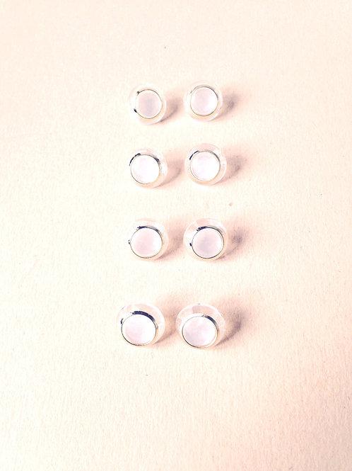 Lot de 8 petits boutons BLANC TRANSPARENT, cercle doré, ronds fantaisie