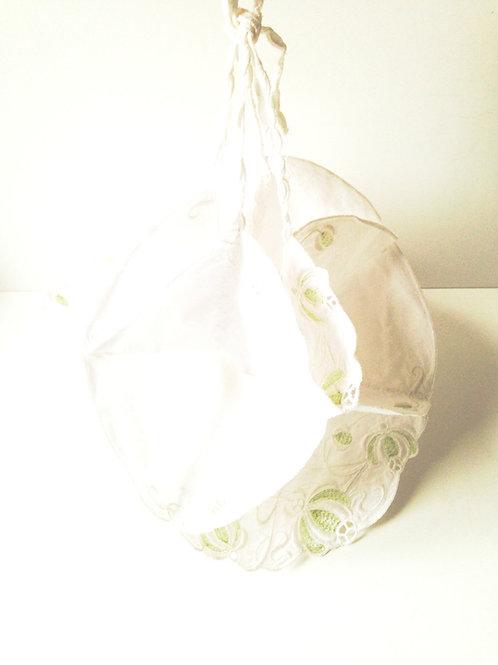 Fleur à suspendre avec poches multiples, linge ancien, type aumonière, en coton