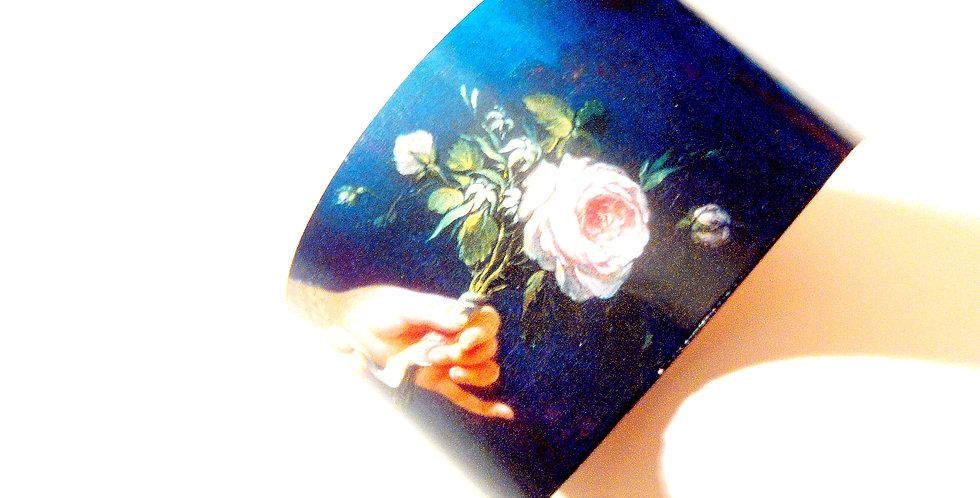 Bracelet Manchette ROMANTIQUE NOIR, carton recyclé