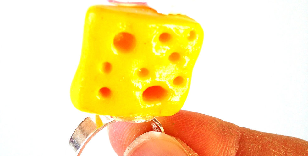 Bague LE MONT EVEREST, miniature, souris et fromage