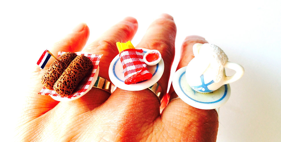 Bague triple AMSTERDAM SNACKS, ou la fin du jeûne, nourriture miniature