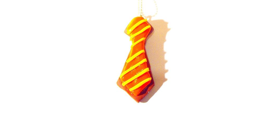 Sautoir ICED COOKIE, cravate, orange / jaune