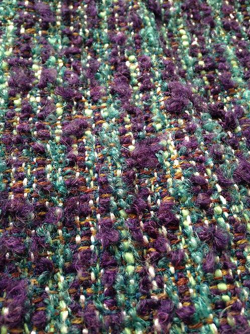 Tweed -- Superbe chute de tweed, vert et violet, laine soyeuse