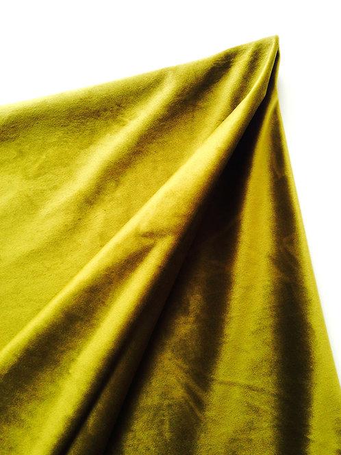 Tissu -- Coupon de velours de viscose, très fin et souple vert doré 117x122 cm