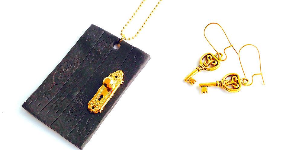 Parure LA PORTE, miniature, mini clés or