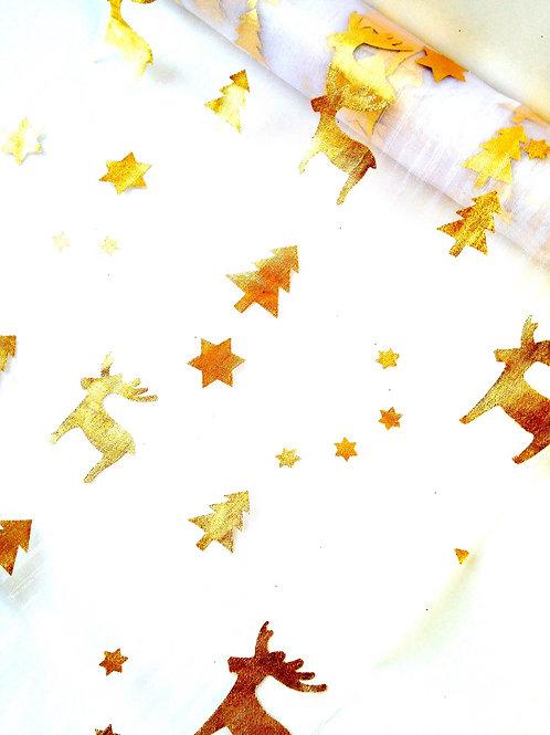 tissu de fête, cerfs dorés, gaze blanche, vue oblique