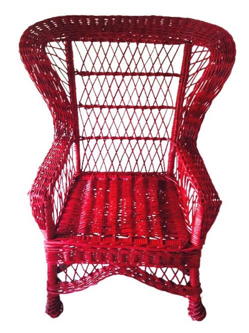 Fauteuil haut en rotin et bambou rouge, vintage, pièce originale rare, recyclée
