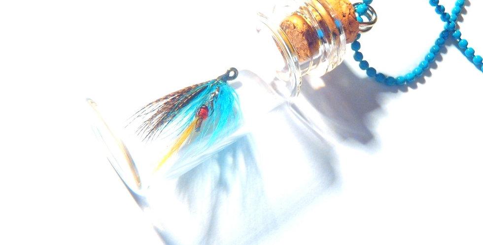 Sautoir LE MINI TRUC BLEU, fiole en verre chaîne bleue