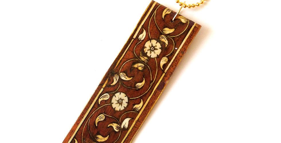 Sautoir SARABANDE, pendentif carton motif brun chocolat