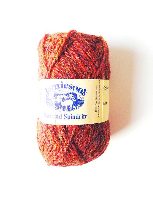Pelote de laine 100% SHETLAND, spindrift (fil fin), PAPRIKA chiné