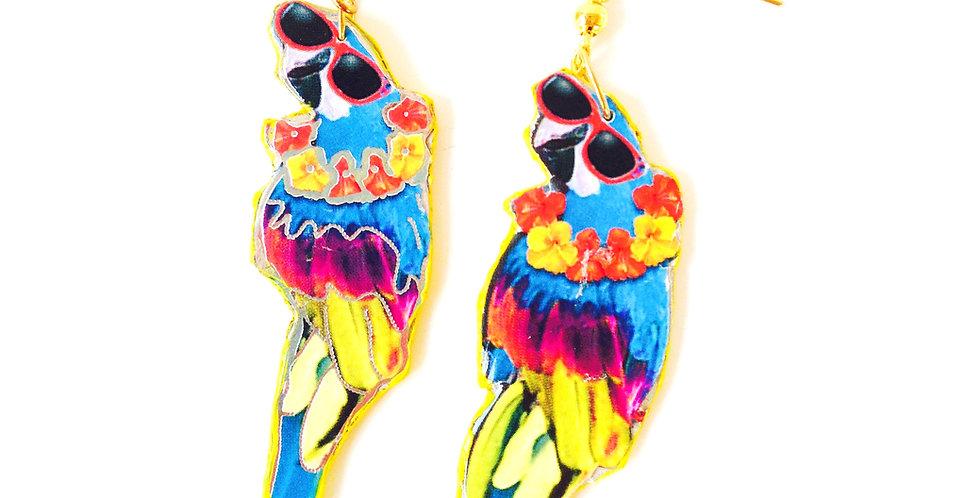 Boucles d'oreilles COCO, soleil-vacances, perroquet à lunettes noires