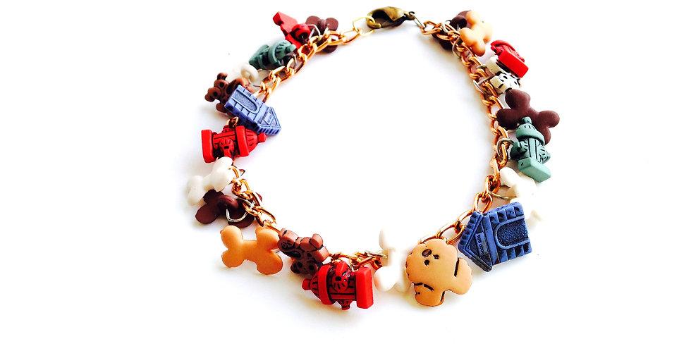 Bracelet DOG FRIENDLY, charms chien
