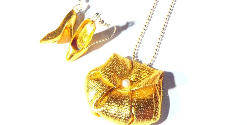 Parure CENDRILLON SANS SON PRINCE, sac et chaussures miniatures, dorés
