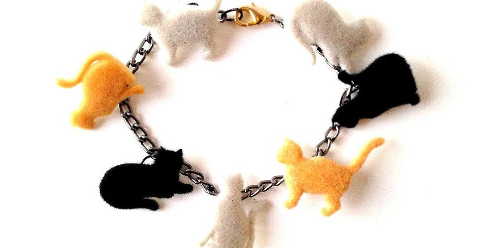 Bracelet LES CHATS, petits chats en feutrine roux, gris, noir
