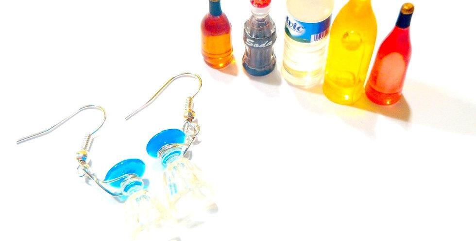 Boucles d'oreilles LA SERVEUSE, verres miniatures