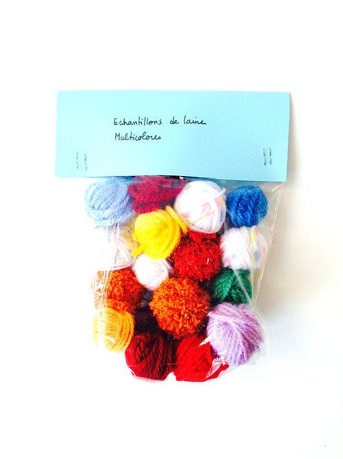 Echantillons de laines multicolores, pour créations, tricot, crochet, etc