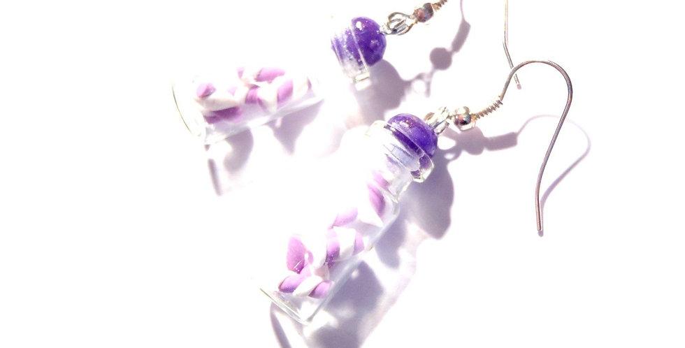 Boucles d'oreilles PETITES DOUCEURS, bocaux miniatures guimauve, violet / rose