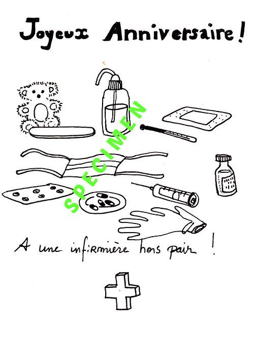 Carte à colorier soi-même JOYEUX ANNIVERSAIRE - INFIRMIÈRE