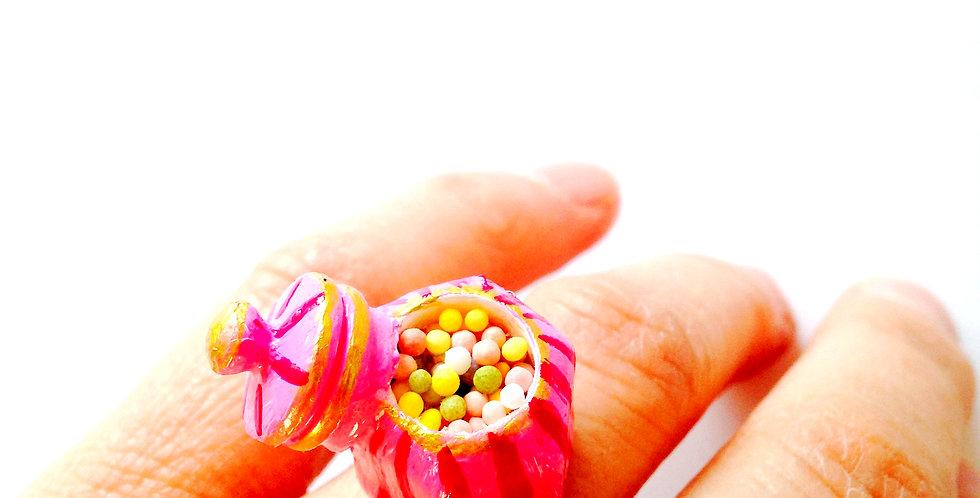 Bague Bonbonnière, miniature rose