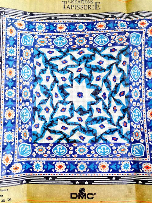 Kit de création tapisserie canevas, bleu, COTONS + TOILE DU CANEVAS + AIGUILLE