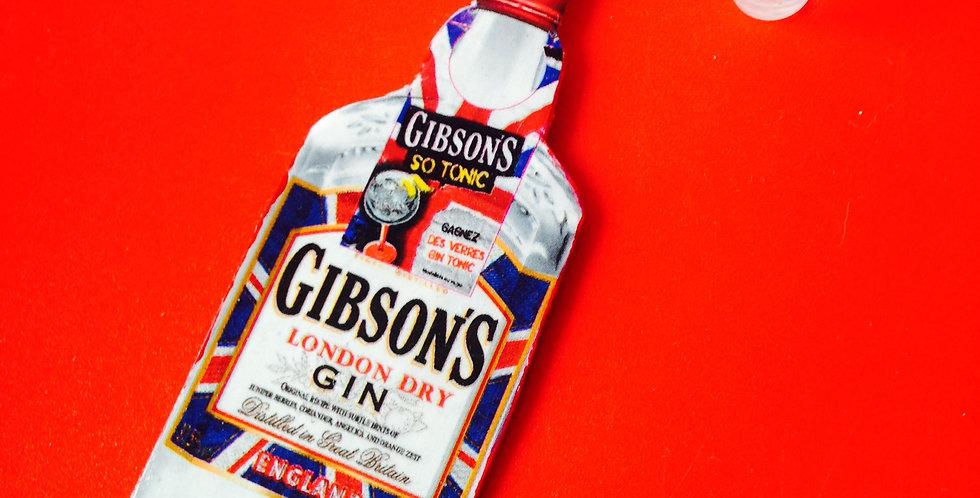 Parure GIN LANE, collier + boucles d'oreilles, bouteille de Gin et verres de gin
