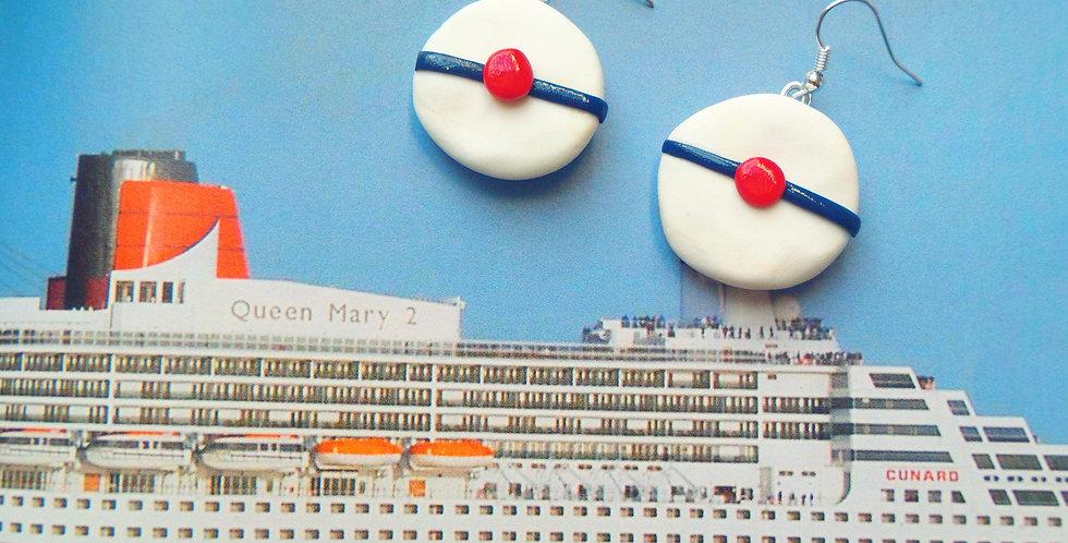 Boucles d'oreilles HELLO, SAILOR !! béret de marin miniature, pompon