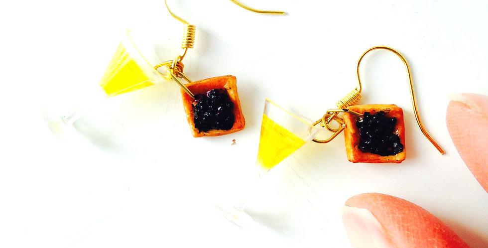Boucles d'oreilles CAVIAR ET CHAMPAGNE, miniatures par The Sausage