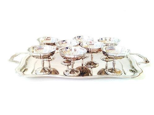Plateau à cocktails vintage - 8 coupes + 1 plateau en métal. Service à cocktails