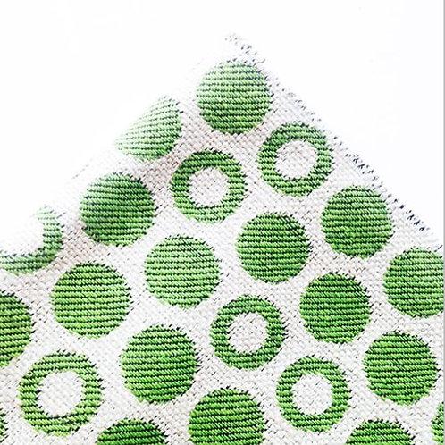 Tissu - Mini coupon toile à pois verts 52 x 28 cm