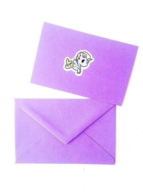 Carte papier mauve sticker LICORNE enveloppe assortie