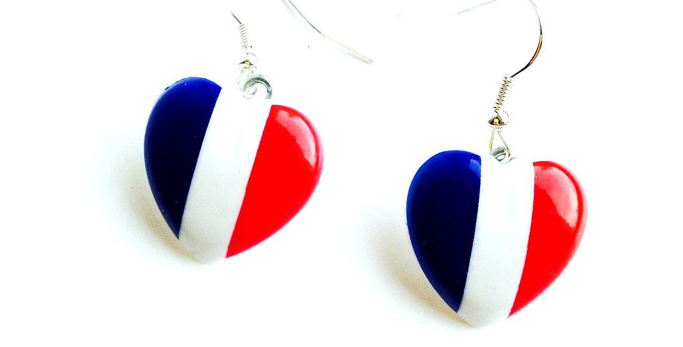 Boucles d'oreilles THE FRENCHIE, coeur drapeau français
