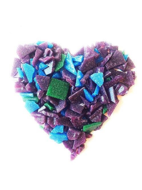 Tesselles de mosaïque, pâte de verre, 120 grs de brisures violet, bleu, vert