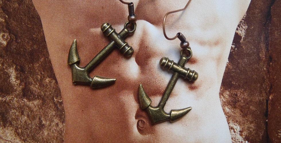Boucles d'oreilles LE MARIN, ancres marines bronze