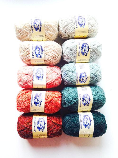 LOT DE 10 pelotes de laines 100% shetland spindrift (fil fin) dégradé couleurs