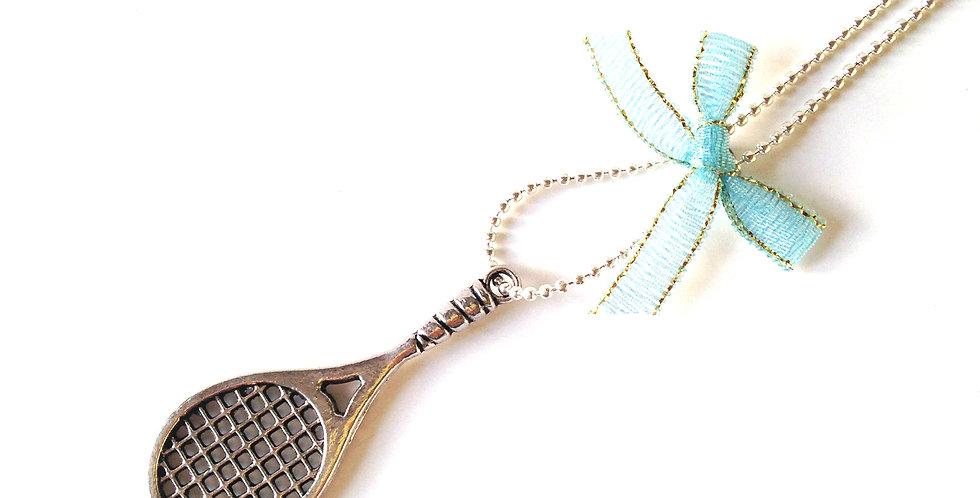 Sautoir ECHEC ET MATCH, raquette de tennis