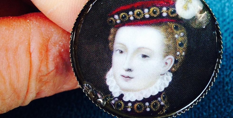 Bague historique MARY STUART, Reine d'Ecosse portrait rond support bague bronze
