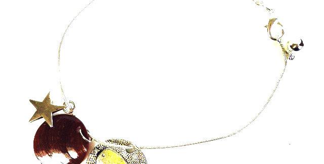 Bracelet de cheville, LE CANARI, médaillon oiseau