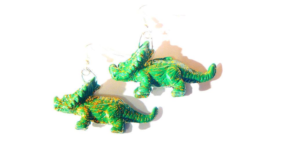 Boucles d'oreilles TRICERATOPS, vert pailleté