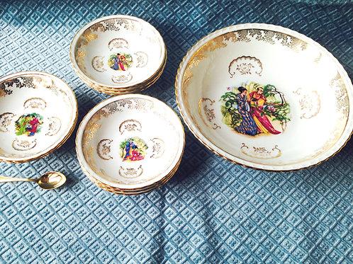 Service à dessert en porcelaine avec motifs Japonais porcelaine Limoges