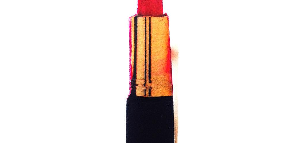 Broche plate, LE ROUGE À LÈVRES, Noir et rouge, carton