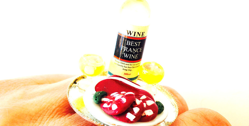 Bague LE VIN D'ALSACE, miniature, vin & charcuterie
