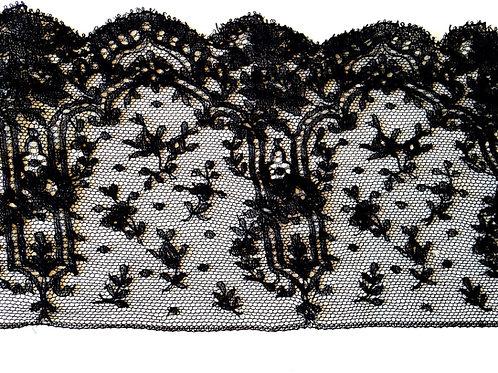 Dentelle noire ancienne, morceau de galon, 116 x 15 cm