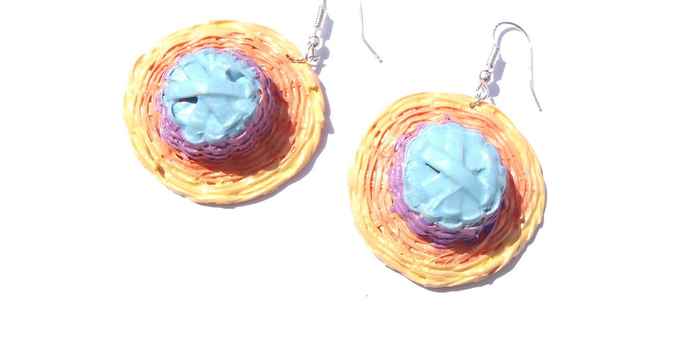 Boucles d'oreilles LES P'TITS CHAPEAUX DE PLAGE, pastels, miniatures