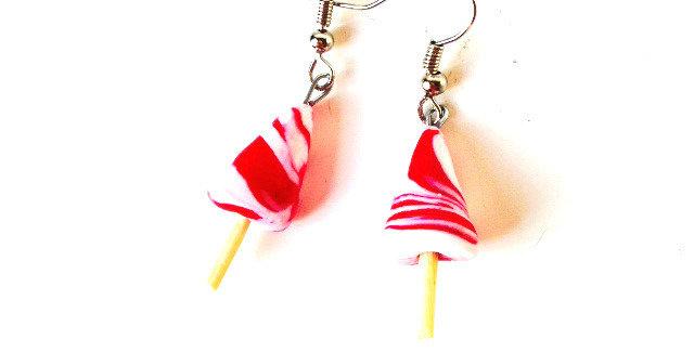 Boucles d'oreilles SUCETTES MINIATURES, en fimo, sucre d'orge rouge et blanc