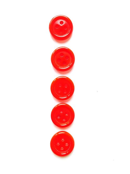 Lot de 5 boutons ronds en résine vermillon taille 1.2 cm.